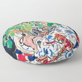 Lion, Cheetah and Tiger Still Life - Wildflowers in Wild Cat Vase After Matisse Floor Pillow
