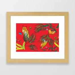 RED TIGER PATTERN Framed Art Print