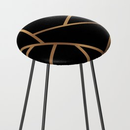 Black and Gold Fragments - Geometric Design Counter Stool