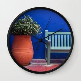 Flower-pot and bench, Majorelle Garden, Marrakech Wall Clock