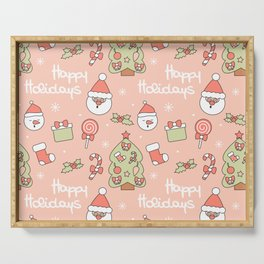 cute pattern with santa claus, christmas tree, candy cane, gift box, sock, lollipop and holly Serving Tray