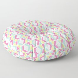 Magenta, Yellow, and Turquoise geometric hourglass pattern Floor Pillow