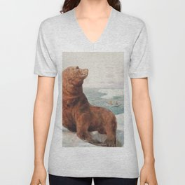 Sea Lions by Charles Collins RBA - Reproduction from original under CC0 Unisex V-Neck
