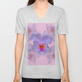 TROPICAL LILAC CATTLEYA ORCHID FLOWERS PINK ART Unisex V-Neck