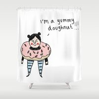doughnut Shower Curtains featuring Doughnut Girl by Tuesday Alissia