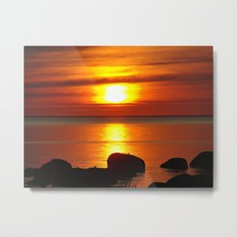 Hazy Seaside Sunset Metal Print