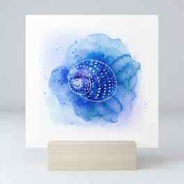 Blue Abstract Watercolor Seashell Rubber Stamp on White 2 Minimalist Coastal Art Mini Art Print