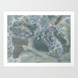 Big Cottonwood Canyon Trail Map Art Print