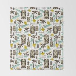 Island Tiki - White Throw Blanket