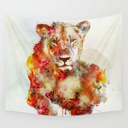 Resting Lioness Watercolor Painting Wall Tapestry