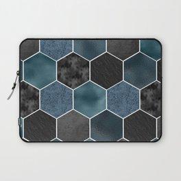 Midnight marble hexagons Laptop Sleeve