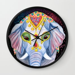 Indian Holi Elephant Watercolor and Acrylic Painting Wall Clock