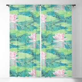Marbled Paper Collage Water Lily Blackout Curtain