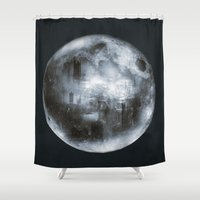 dark side of the moon Shower Curtains featuring The Dark Side of the Moon by Viviana Gonzalez