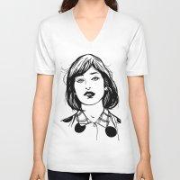 lip V-neck T-shirts featuring Lip Bite by Richard Stuart MacFarlane