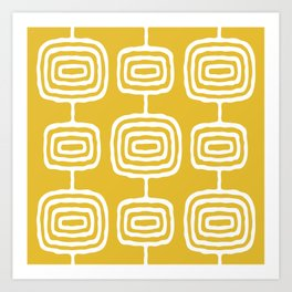 Mid Century Modern Atomic Rings Pattern 771 Mustard Yellow Art Print
