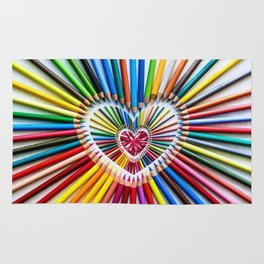Colorful Pencils with Pink Heart Stone Rug