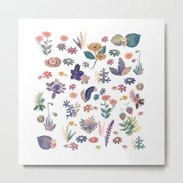 Watercolor Nature Pattern Metal Print