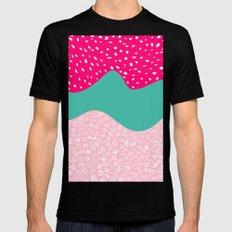 Modern neon pink turquoise blush ice cream color block geometric hand drawn pattern Mens Fitted Tee MEDIUM Black