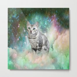 Purrsia Kitty Cat in the Emerald Nebula of Innocence Metal Print
