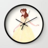 belle Wall Clocks featuring Belle by punziella