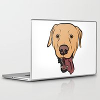 levi Laptop & iPad Skins featuring Levi the Yellow Lab by Rachel Barrett