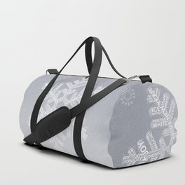 Typographic Snowflake Greetings - Silver Grey Duffle Bag