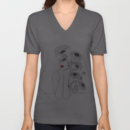 Minimal Line Art Girl with Sunflowers Unisex V-Ausschnitt