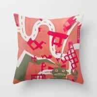 robot Throw Pillows featuring Robot by Jan Luzar