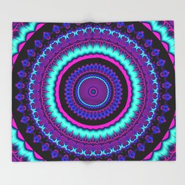 turquoise purple Mandala Throw Blanket