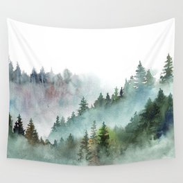 Watercolor Pine Forest Mountains in the Fog Wandbehang
