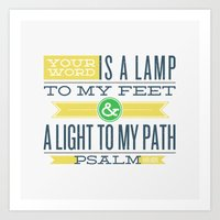 bible verses Art Prints featuring Psalm 119:105 Bible Verses by Tony D'Amico