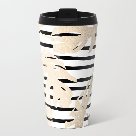 Simply Tropical White Gold Sands Palm Leaves on Stripes Metal Travel Mug