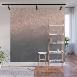Rose gold glitter ombre grey cement concrete Wall Mural