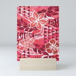 Red Hibiscus Polynesian Tapa Mini Art Print