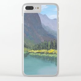 Bertha Lake, Waterton Acrylic Painting Clear iPhone Case