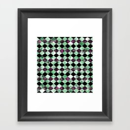 Diamond Pattern In Green, Black And Purple Framed Art Print