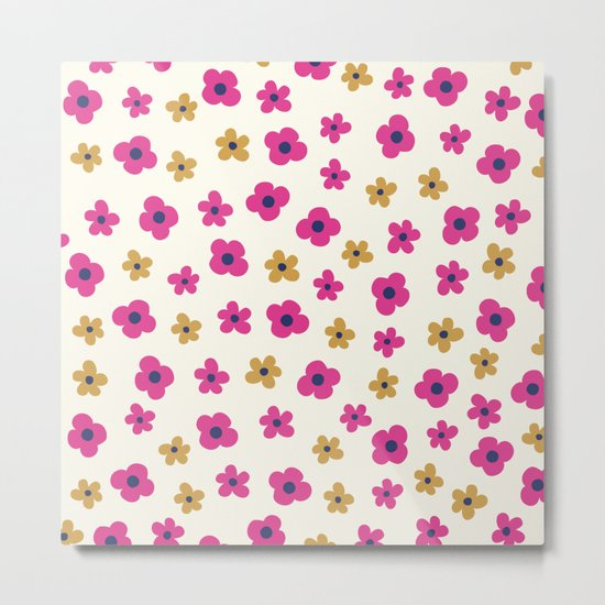 Pink and Gold Little Flower Pattern Metal Print