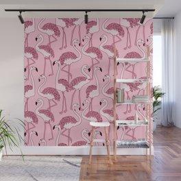Pink Flamingos Print Wall Mural