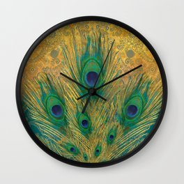 """Turquoise and golden peacock"" Wall Clock"