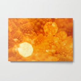 Macro Romanesco Broccoli - Bokeh Gold Metal Print