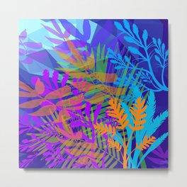 Electric Blues Tropical Jungle Metal Print