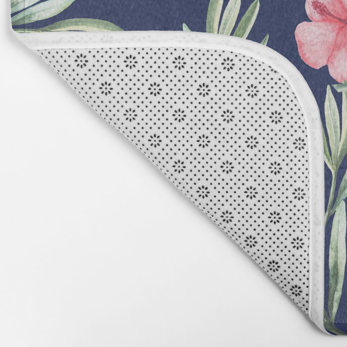 Delicate Hibiscus Blue Bath Mat