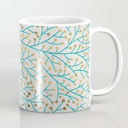 Berry Branches – Turquoise & Gold Coffee Mug