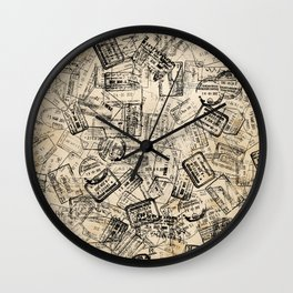 Passport Stamps Collage Print Wall Clock