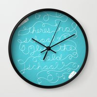 old school Wall Clocks featuring Old School by Heather Doyle