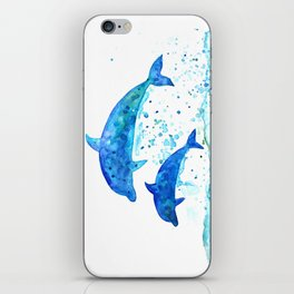 Dolphins, Blue dolphins, watercolor iPhone Skin