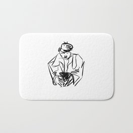 MAN ON PHONE Bath Mat