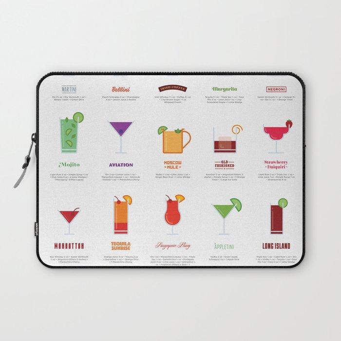 Classic Cocktails Print Art Poster | Drink Recipes | Bar Poster | Bar Art | Kitchen Art | Alcohol Laptop Sleeve