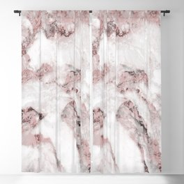 White and Pink Marble Mountain 01 Blackout Curtain
